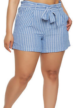 Plus Size Striped Tie Front Shorts - 1860060582452