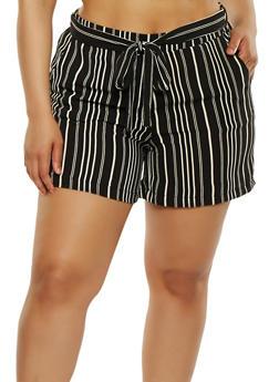 Plus Size Printed Tie Waist Shorts - 1860060582491