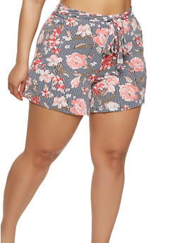 Plus Size Printed Tie Waist Shorts - 1860060582491