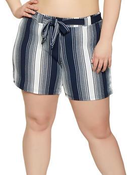 Plus Size Striped Tie Waist Shorts | 1860060583113 - 1860060583113