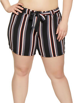 Plus Size Textured Knit Striped Shorts - 1860060583114