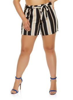 Plus Size Stripes Shorts