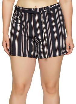 Plus Size Striped Tie Waist Shorts | 1860060583536 - 1860060583536