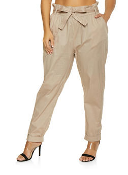 Plus Size Belted Paper Bag Waist Pants - 1861038340201