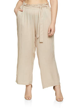 Plus Size Belted Paper Bag Waist Pants | 1861038340237 - 1861038340237