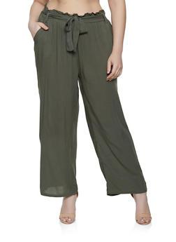 Plus Size Belted Paper Bag Waist Pants   1861038340237 - 1861038340237