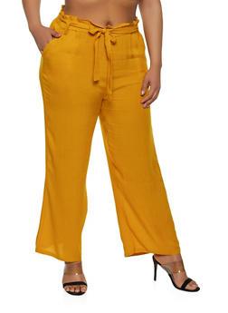 Plus Size Belted Paper Bag Waist Pants | 1861038340237 - 1861038340237