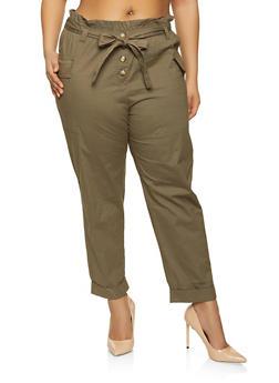 Plus Size Paper Bag Waist Cargo Pants - 1861038342104