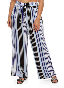 Plus Size Striped Palazzo Pants - 1861038342203