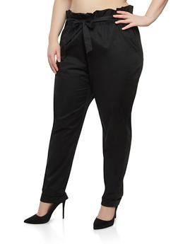 Plus Size Paper Bag Waist Pants - 1861038342920