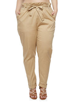 Plus Size Paper Bag Waist Pants - 1861038342920