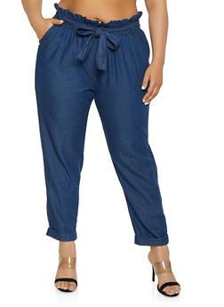 Plus Size Paper Bag Waist Denim Pants - 1861038349220