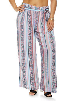 Plus Size Printed Tie Front Pants - 1861038349230