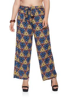 Plus Size Printed Tie Front Pants - 1861038349230