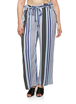 Plus Size Printed Paper Bag Waist Palazzo Pants - 1861038349231