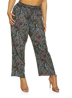 Plus Size Printed Smocked Waist Pants - 1861051060015