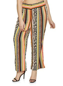 Plus Size Printed Smocked Waist Pants - MULTI COLOR - 1861051060015