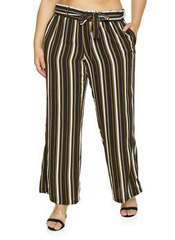 Plus Size Vertical Stripe Paper Bag Waist Pants - 1861051061019