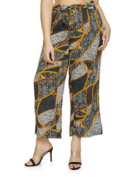 Plus Size Paper Bag Waist Printed Pants - CHARCOAL - 1861051063016