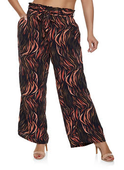 Plus Size Paper Bag Waist Printed Pants - CORAL - 1861051063016