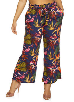 Plus Size Floral Palazzo Pants with Tie Waist Belt - NAVY - 1861051063619