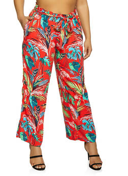 Plus Size Floral Palazzo Pants with Tie Waist Belt - RED - 1861051063619