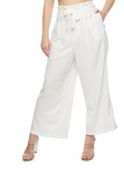 Plus Size Solid Crepe Knit Palazzo Pants - 1861051063634