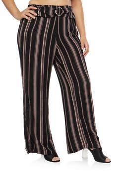 Plus Size Striped Crepe Knit Palazzo Pants - 1861051063640