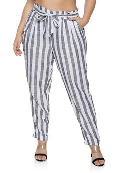 4d1f0d5b1ba Plus Size Striped Linen Paper Bag Tie Waist Pants - 1861051063985