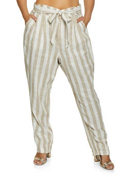 Plus Size Striped Linen Paper Bag Tie Waist Pants - 1861051063985