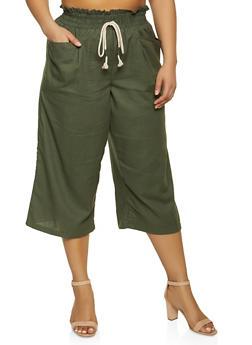 Plus Size Cropped Linen Pants - 1861051064563