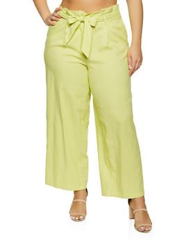 Plus Size Wide Leg Linen Pants - 1861051064577