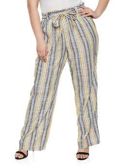 Plus Size Striped Linen Tie Waist Pants - 1861051069413