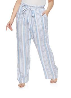 Plus Size Striped Linen Tie Waist Pants - 1861051069413
