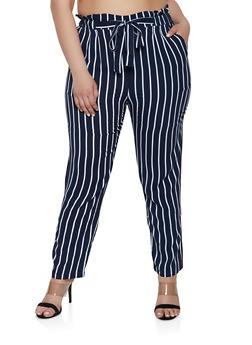 Plus Size Striped Tie Waist Pants | 1861054260484 - 1861054260484
