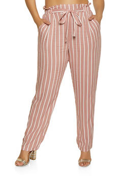 Plus Size Striped Tie Waist Pants | 1861054260484 - 1861054260484