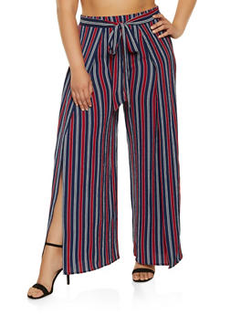 Plus Size Striped Open Leg Palazzo Pants - 1861054260762