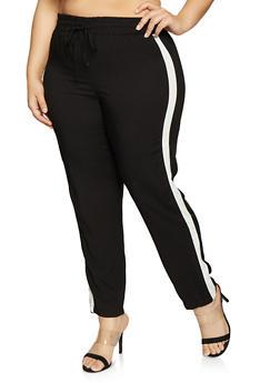 Plus Size Contrast Trim Pants - 1861054260852