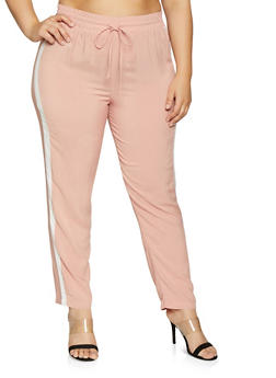Plus Size Contrast Trim Pants - 1861054260852