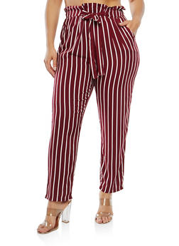Plus Size Striped Paper Bag Waist Pants - 1861054264841