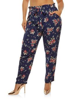 Plus Size Printed Paper Bag Waist Pants - 1861054264843