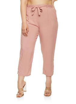 Plus Size Tie Waist Pants - 1861054265911
