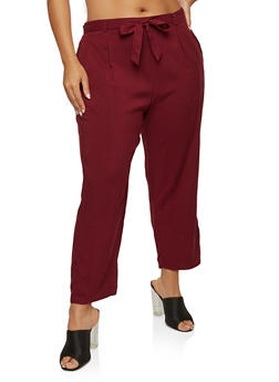 Plus Size Tie Waist Pants - 1861054265911