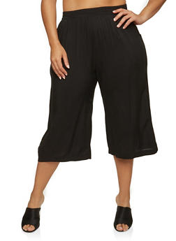 Plus Size Cropped Gaucho Pants - 1861054269866