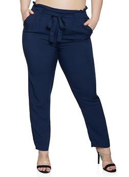 Plus Size Solid Tie Front  Pants - 1861054269993