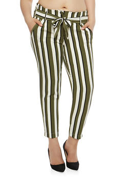 Plus Size Striped Tie Waist Pants - 1861056570012