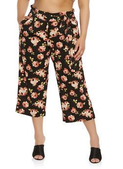 Plus Size Printed Paper Bag Waist Pants - 1861056570299