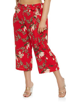 Plus Size Printed Paper Bag Waist Pants - 1861056570299
