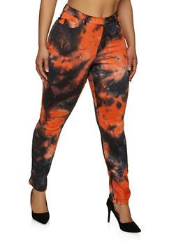 Plus Size Tie Dye Stretch Pants - 1861056571017