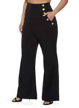 cc0a9b43637fb Plus Size High Waisted Sailor Dress Pants - 1861056571436